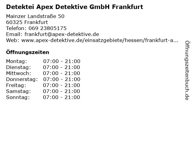 Detektei Apex Detektive GmbH Frankfurt in Frankfurt: Adresse und Öffnungszeiten