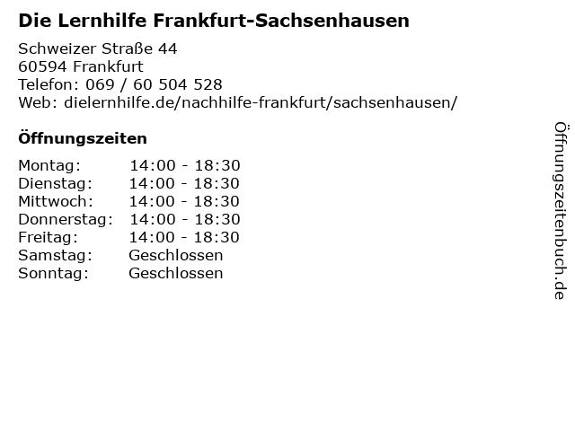 Die Lernhilfe Frankfurt-Sachsenhausen in Frankfurt: Adresse und Öffnungszeiten