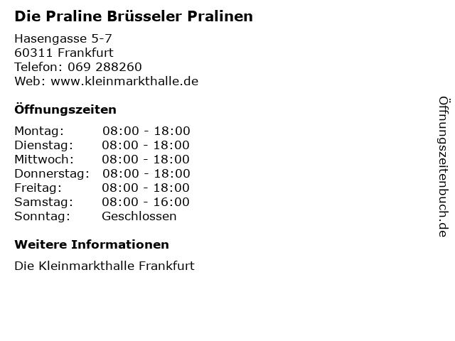 Die Praline Brüsseler Pralinen in Frankfurt: Adresse und Öffnungszeiten
