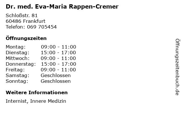 Dr. med. Eva-Maria Rappen-Cremer in Frankfurt: Adresse und Öffnungszeiten