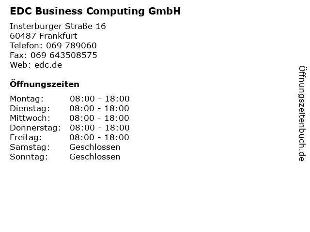 EDC Business Computing GmbH in Frankfurt: Adresse und Öffnungszeiten