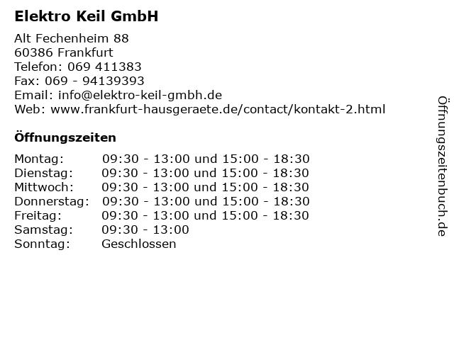 Elektro Keil GmbH in Frankfurt: Adresse und Öffnungszeiten