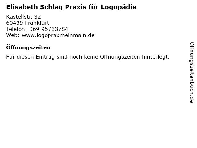 Elisabeth Schlag Praxis für Logopädie in Frankfurt: Adresse und Öffnungszeiten
