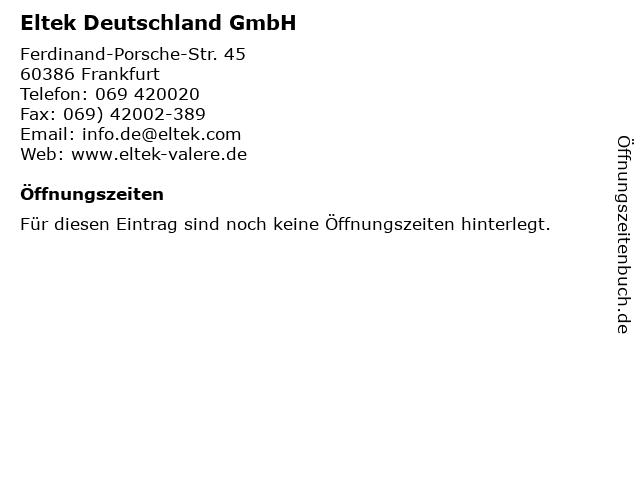 Eltek Deutschland GmbH in Frankfurt: Adresse und Öffnungszeiten
