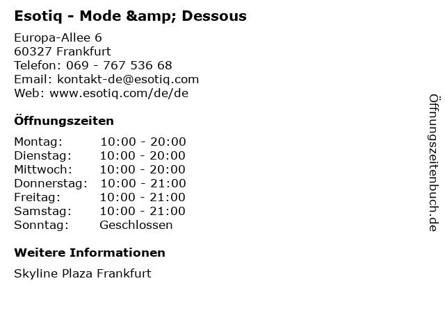 Esotiq - Mode & Dessous in Frankfurt: Adresse und Öffnungszeiten