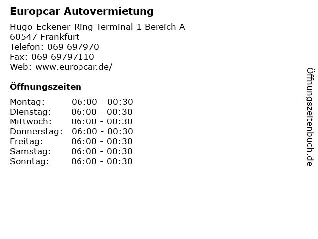 Europcar Autovermietung in Frankfurt: Adresse und Öffnungszeiten