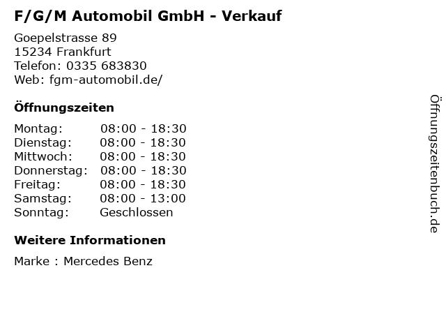F/G/M Automobil GmbH - Verkauf in Frankfurt: Adresse und Öffnungszeiten