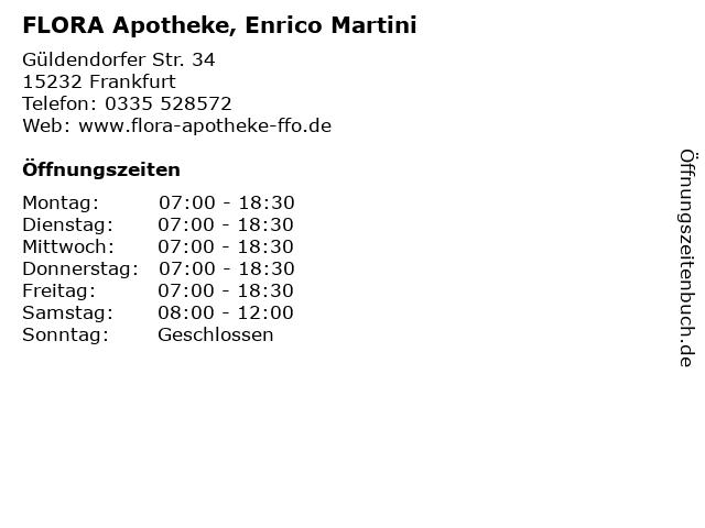 FLORA Apotheke, Enrico Martini in Frankfurt: Adresse und Öffnungszeiten