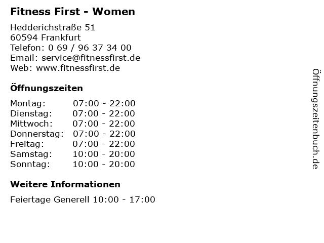 Fitness First - Women in Frankfurt: Adresse und Öffnungszeiten