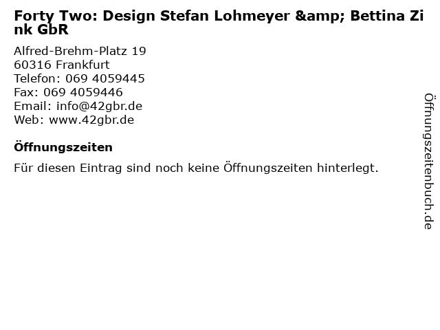 Forty Two: Design Stefan Lohmeyer & Bettina Zink GbR in Frankfurt: Adresse und Öffnungszeiten
