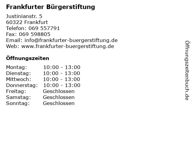 Frankfurter Bürgerstiftung in Frankfurt: Adresse und Öffnungszeiten