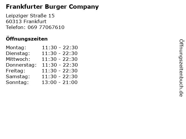 Frankfurter Burger Company in Frankfurt: Adresse und Öffnungszeiten