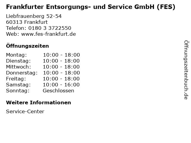 Frankfurter Entsorgungs- und Service GmbH (FES) in Frankfurt: Adresse und Öffnungszeiten