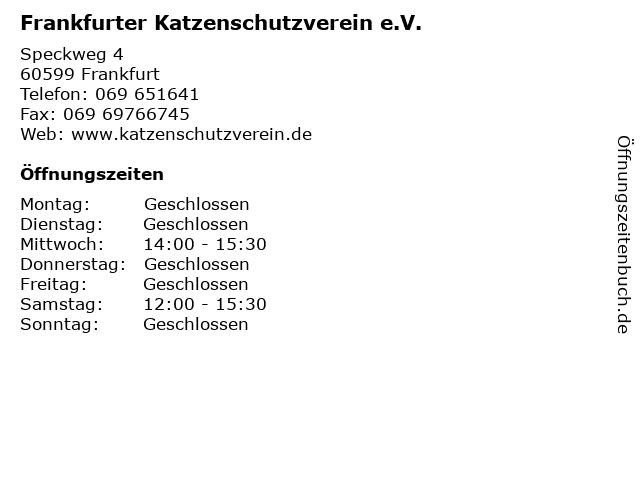Frankfurter Katzenschutzverein e.V. in Frankfurt: Adresse und Öffnungszeiten