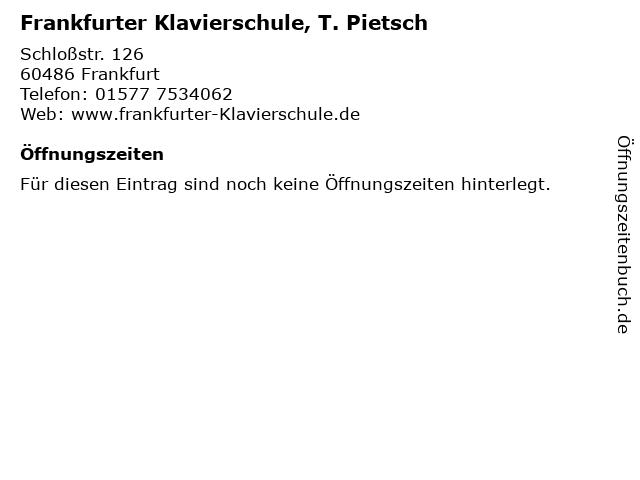 Frankfurter Klavierschule, T. Pietsch in Frankfurt: Adresse und Öffnungszeiten