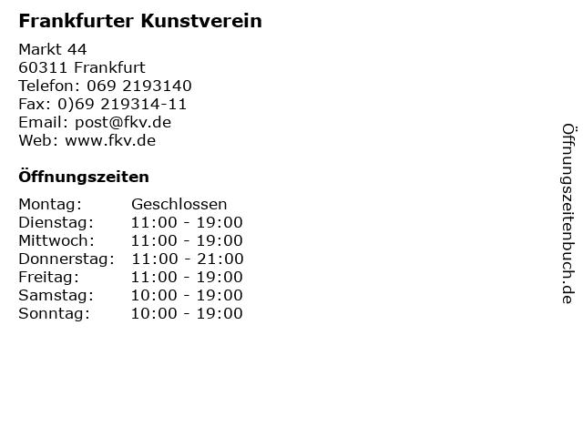 Frankfurter Kunstverein in Frankfurt: Adresse und Öffnungszeiten