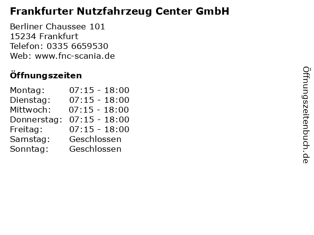 Frankfurter Nutzfahrzeug Center GmbH in Frankfurt: Adresse und Öffnungszeiten