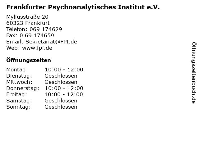 Frankfurter Psychoanalytisches Institut e.V. in Frankfurt: Adresse und Öffnungszeiten