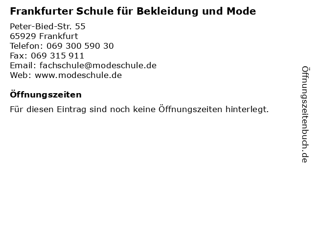 Frankfurter Schule für Bekleidung und Mode in Frankfurt: Adresse und Öffnungszeiten