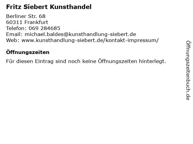 Fritz Siebert Kunsthandel in Frankfurt: Adresse und Öffnungszeiten