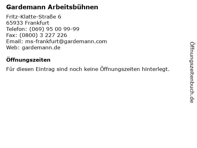 Gardemann Arbeitsbühnen in Frankfurt: Adresse und Öffnungszeiten
