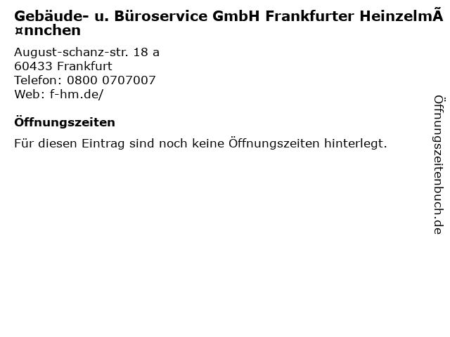 Gebäude- u. Büroservice GmbH Frankfurter Heinzelmännchen in Frankfurt: Adresse und Öffnungszeiten
