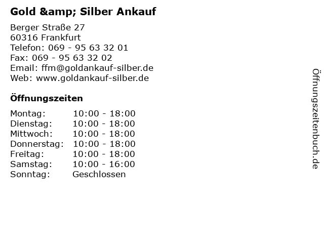 Gold & Silber Ankauf in Frankfurt: Adresse und Öffnungszeiten