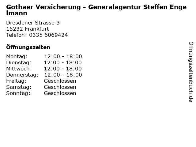 Gothaer Versicherung - Generalagentur Steffen Engelmann in Frankfurt: Adresse und Öffnungszeiten