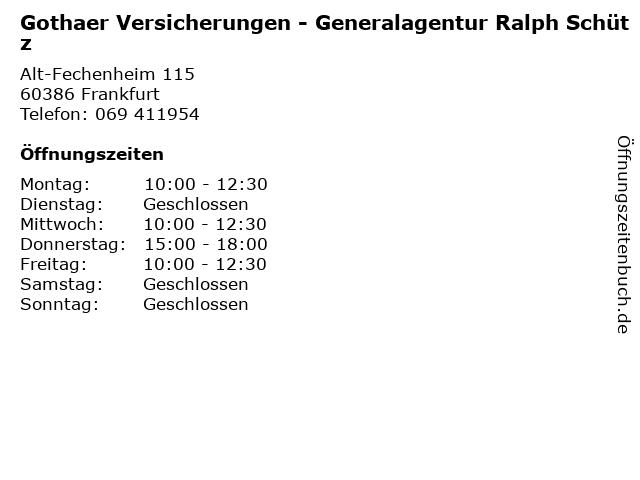 Gothaer Versicherungen - Generalagentur Ralph Schütz in Frankfurt: Adresse und Öffnungszeiten