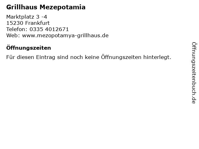 Grillhaus Mezepotamia in Frankfurt: Adresse und Öffnungszeiten