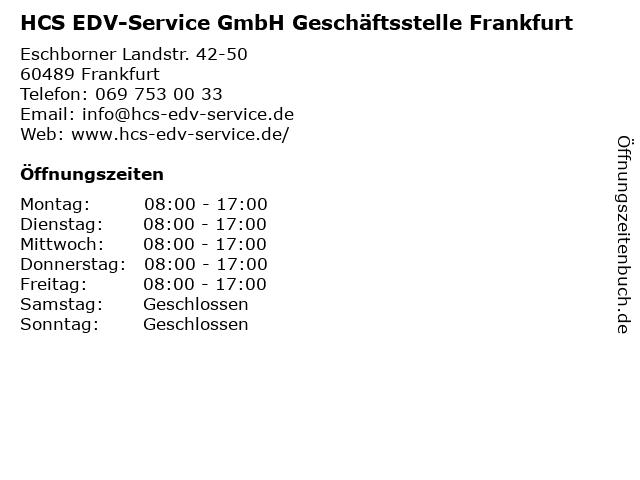 HCS EDV-Service GmbH Geschäftsstelle Frankfurt in Frankfurt: Adresse und Öffnungszeiten
