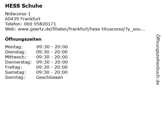 Hess Schuhe in Frankfurt am Main: Adresse und Öffnungszeiten