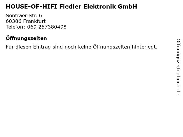 HOUSE-OF-HIFI Fiedler Elektronik GmbH in Frankfurt: Adresse und Öffnungszeiten