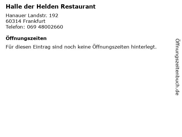 Halle der Helden Restaurant in Frankfurt: Adresse und Öffnungszeiten