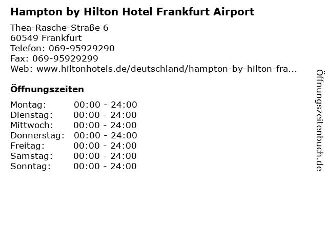 Hampton by Hilton Hotel Frankfurt Airport in Frankfurt: Adresse und Öffnungszeiten
