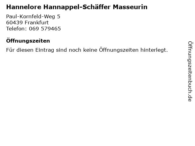 Hannelore Hannappel-Schäffer Masseurin in Frankfurt: Adresse und Öffnungszeiten