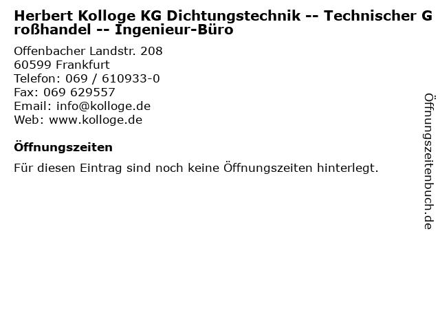 Herbert Kolloge KG Dichtungstechnik -- Technischer Großhandel -- Ingenieur-Büro in Frankfurt: Adresse und Öffnungszeiten