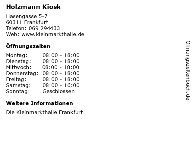 Holzmann Kiosk in Frankfurt: Adresse und Öffnungszeiten