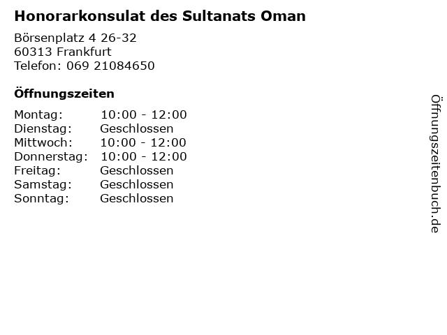 Honorarkonsulat des Sultanats Oman in Frankfurt: Adresse und Öffnungszeiten