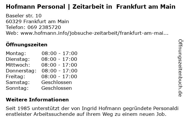 I.K.Hofmann GmbH - Frankfurt am Main 1 in Frankfurt: Adresse und Öffnungszeiten