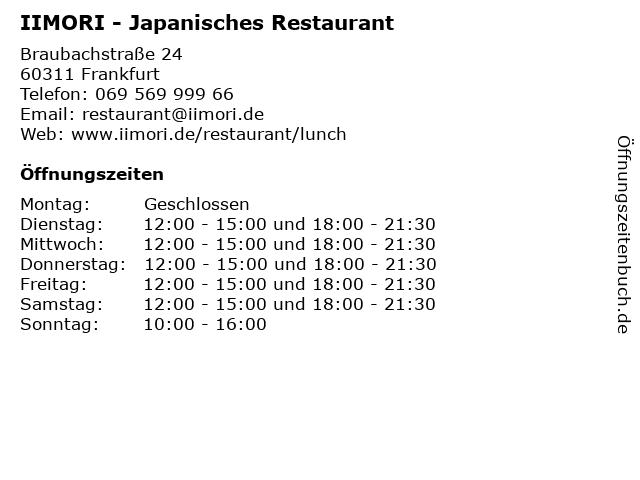 IIMORI - Japanisches Restaurant in Frankfurt: Adresse und Öffnungszeiten