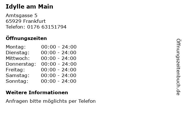 Idylle am Main in Frankfurt: Adresse und Öffnungszeiten