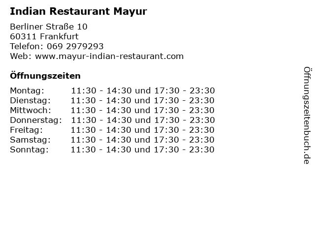 Indian Restaurant Mayur in Frankfurt: Adresse und Öffnungszeiten