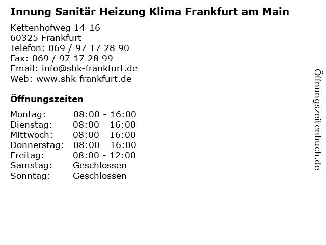 Innung Sanitär Heizung Klima Frankfurt am Main in Frankfurt: Adresse und Öffnungszeiten