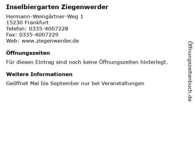 Inselbiergarten Ziegenwerder in Frankfurt: Adresse und Öffnungszeiten