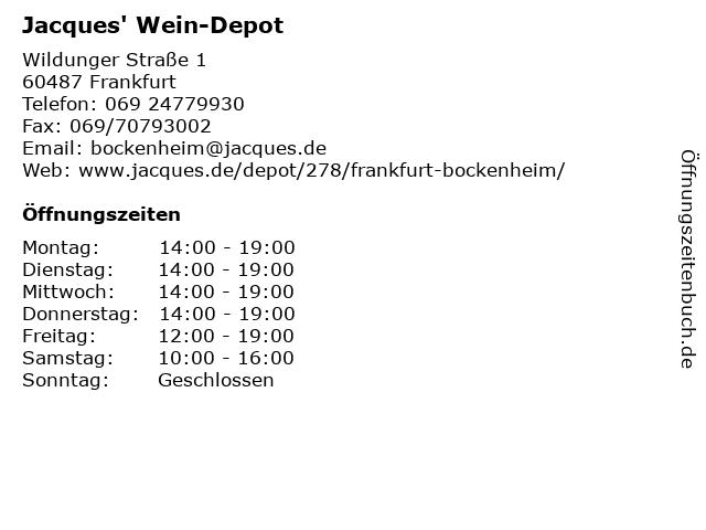Jacques' Wein-Depot in Frankfurt/Main: Adresse und Öffnungszeiten