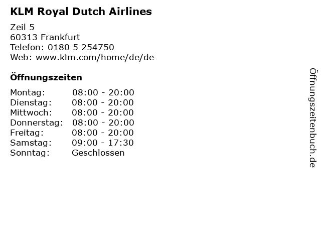 KLM Royal Dutch Airlines in Frankfurt: Adresse und Öffnungszeiten
