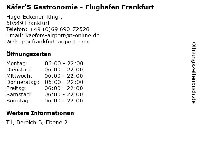 Käfer'S Gastronomie - Flughafen Frankfurt in Frankfurt: Adresse und Öffnungszeiten