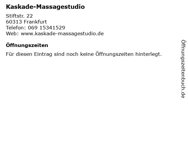 Kaskade-Massagestudio in Frankfurt: Adresse und Öffnungszeiten
