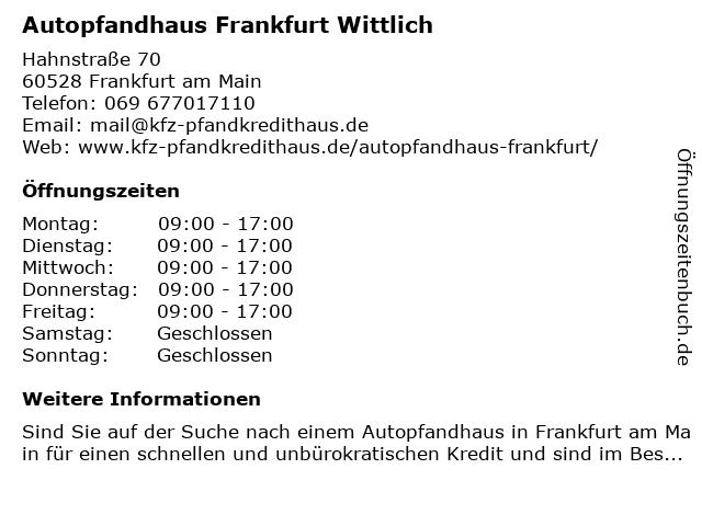 Kfz-Pfandkredithaus Wittlich in Frankfurt: Adresse und Öffnungszeiten